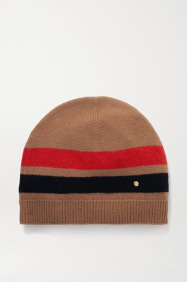 Burberry Striped Merino Wool And Cashmere-blend Beanie - Camel