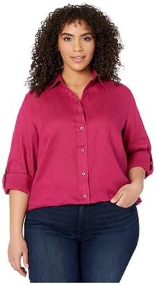 Lauren Ralph Lauren Plus Size Linen Shirt (Bright Fuchsia) Women's Clothing