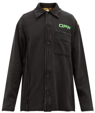 Off-White Reconstructed Cotton-jersey Overshirt - Mens - Black Green