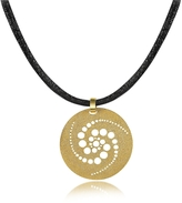 Stefano Patriarchi Golden Silver Etched Crop Circle Round Pendant w/Leather Lace