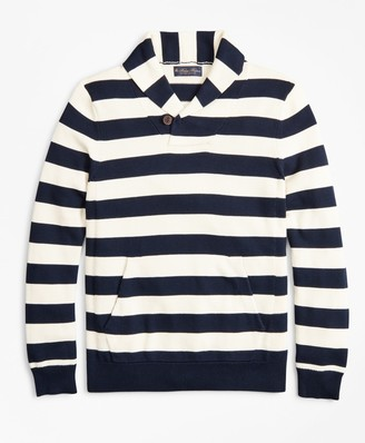Brooks Brothers Supima Cotton Nautical Stripe Shawl Collar Sweater