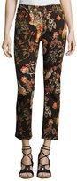 Etro Tiger & Floral-Print Cropped Boyfriend Jeans, Black