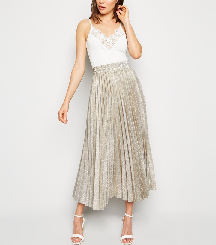 Thumbnail for your product : New Look Glitter Pleated Midi Skirt