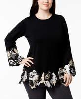 Alfani Plus Size Lace-Hem Sweater, Created for Macy's