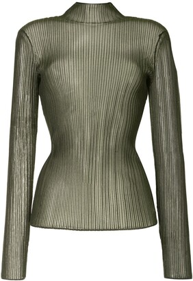 Dion Lee Sheer Long-Sleeve Knit Top