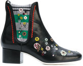 Fendi floral embroidered ankle boots - women - Cotton/Calf Leather/Leather - 36