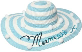 MonnaLisa Striped Wide Brim Hat W/ Pompoms
