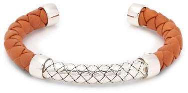 Bottega Veneta Intrecciato Leather And Sterling Silver Cuff - Mens - Orange