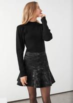 And other stories Ruffle Hem Mini Jacquard Skirt
