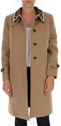 Miu Miu Embellished Single Breasted Coat