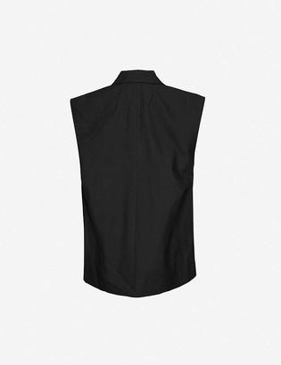 Frame Oversized linen-blend sleeveless blazer
