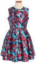 Oscar de la Renta Girl's Wild Roses Mikado Party Dress