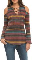 Elan Cold Shoulder Stripe Top