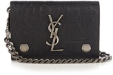 Saint Laurent Monogram Crocodile-effect Leather Wallet