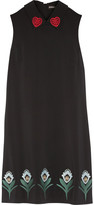 Markus Lupfer Nella Embroidered Stretch-crepe Mini Dress - Black