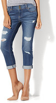 New York & Co. Soho Jeans - Destroyed Cropped Boyfriend - Blue Crazy Wash