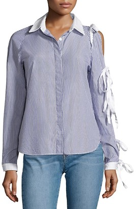 Sandy Liang Noah Tie Sleeve Cold-Shoulder Shirt