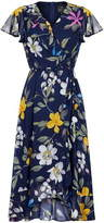 Adrianna Papell Floral Chiffon Faux Wrap Dress