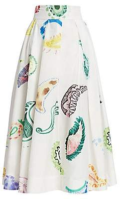 Rosie Assoulin Women's Pleated Poplin Midi Skirt