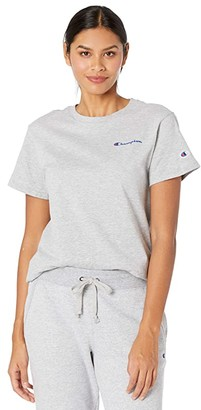 Champion Classic T-Shirt - Left Chest Script (Oxford Gray) Women's Clothing