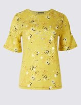 Limited Edition Star Print Foil Flared Sleeve T-Shirt