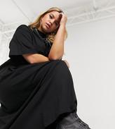 Collusion COLLUSION Plus exclusive maxi smock dress in black