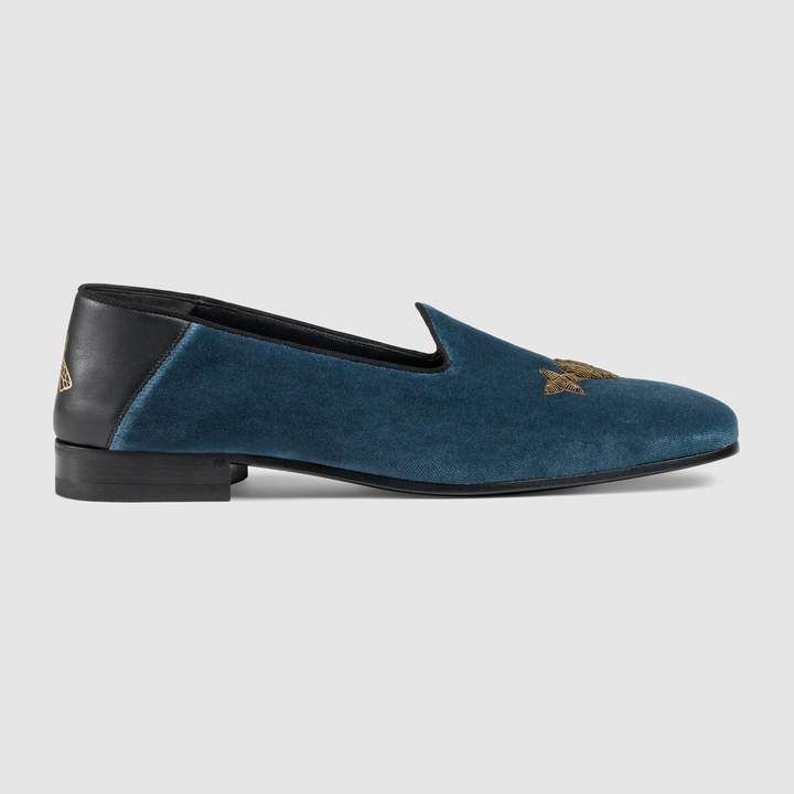 Gucci Velvet loafer with metallic embroideries