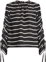 Preen by Thornton Bregazzi Will ruched striped washed-silk top