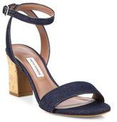 Tabitha Simmons Leticia Denim Cork Block Heel Sandals