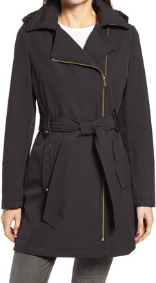 Via Spiga Belted Water Resistant Hooded Trench Coat