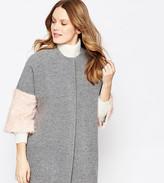 Helene Berman Kimono Coat In Gray With Pink Fluffy Sleeve