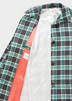 Paul Smith Women's Green And Grey Check Linen-Blend Cocoon Coat