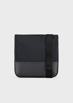 Emporio Armani Flat, Nylon Shoulder Bag With Monogram