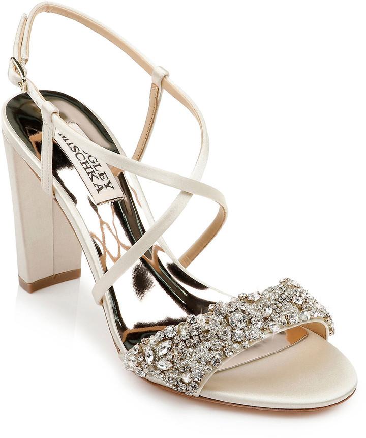 Badgley Mischka Carolyn Embellished Satin Block-Heel Evening Sandals