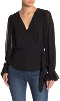 Do & Be Do + Be Pleated Sleeve Wrap Blouse