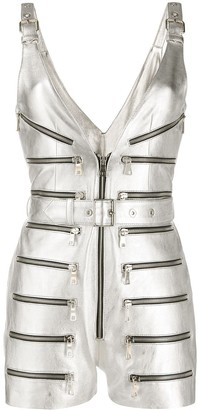 Manokhi Metallic Biker Playsuit
