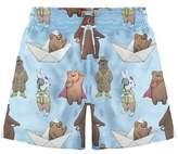 Stella Cove Toddler Boy's Bear & Hare Print Board Shorts