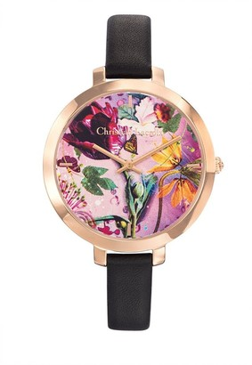 Christian Lacroix Womens Analogue Quartz Watch with Leather Strap CLWE03