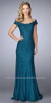 La Femme Scalloped Beaded Off the Shoulder Lace Evening Dress