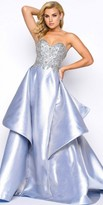 Mac Duggal Shiny Satin Beaded A-line Prom Gown