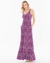 Soma Intimates Soft Jersey Tiered Hem Sleeveless Maxi Dress Serenata Eyelet Henna Plum