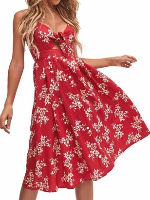 FANCYINN Womens Tie Front Dress Summer V-Neck Spaghetti Strap Dresses Button Down A-Line Midi Dress