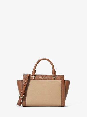 MICHAEL Michael Kors Brandi Small Two-Tone Saffiano Leather Messenger Bag