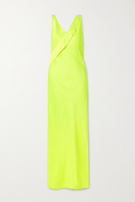 Helmut Lang Neon Draped Satin Gown - Yellow