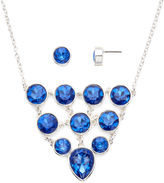 Liz Claiborne Blue Crystal Bib Necklace and Stud Earring Set