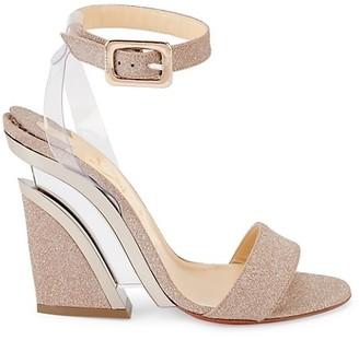 Christian Louboutin Levitalo PVC-Trimmed Glitter Sandals