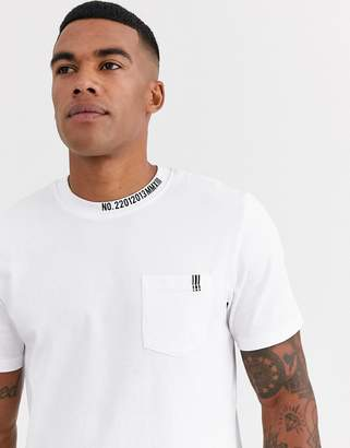 ONLY & SONS collar detail t-shirt in white