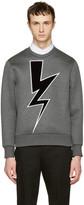 Neil Barrett Grey Velvet Thunderbolt Pullover