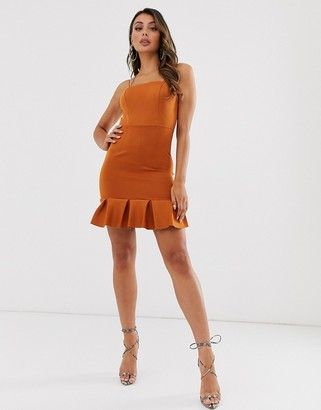 Laced in Love flippy hem mini scuba dress in deep brown