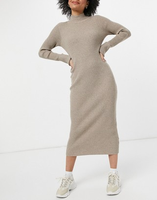 BB Dakota sweater of intent midi dress in taupe